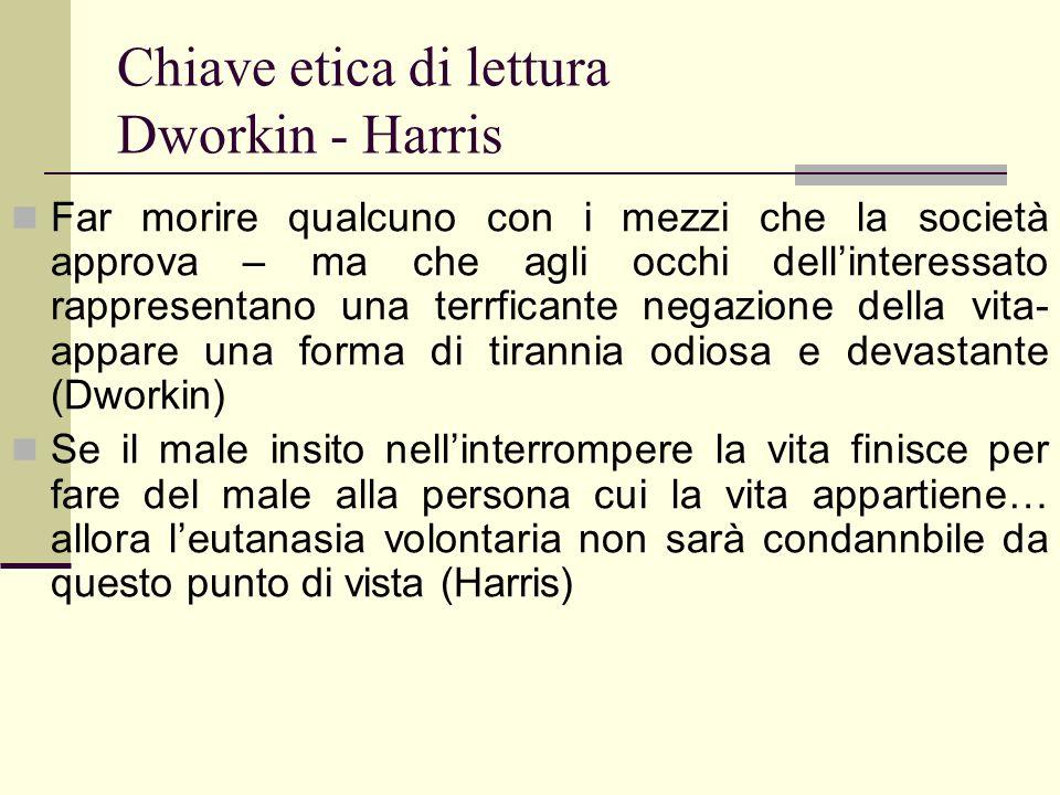 Chiave etica di lettura Dworkin - Harris Far morire qualcuno con i mezzi che la società approva – ma che agli occhi dellinteressato rappresentano una