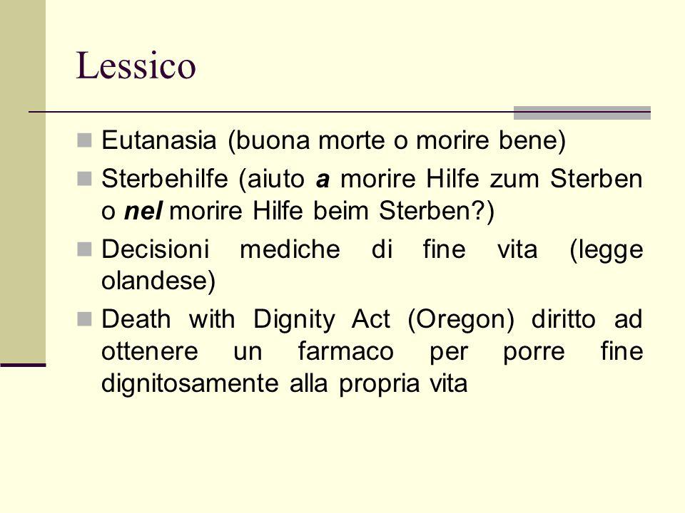 Lessico Eutanasia (buona morte o morire bene) Sterbehilfe (aiuto a morire Hilfe zum Sterben o nel morire Hilfe beim Sterben?) Decisioni mediche di fin
