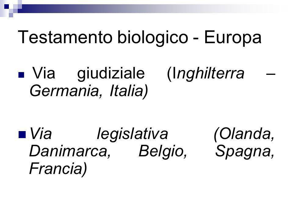 Testamento biologico - Europa Via giudiziale (Inghilterra – Germania, Italia) Via legislativa (Olanda, Danimarca, Belgio, Spagna, Francia)