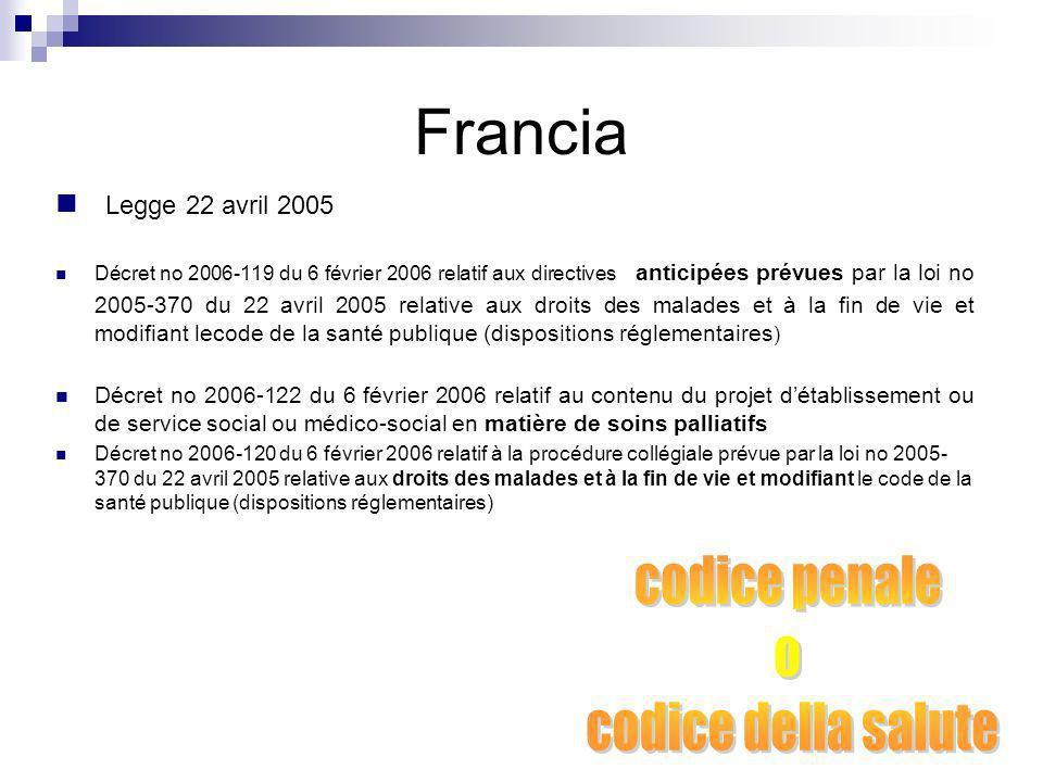 Francia Legge 22 avril 2005 Décret no 2006-119 du 6 février 2006 relatif aux directives anticipées prévues par la loi no 2005-370 du 22 avril 2005 rel