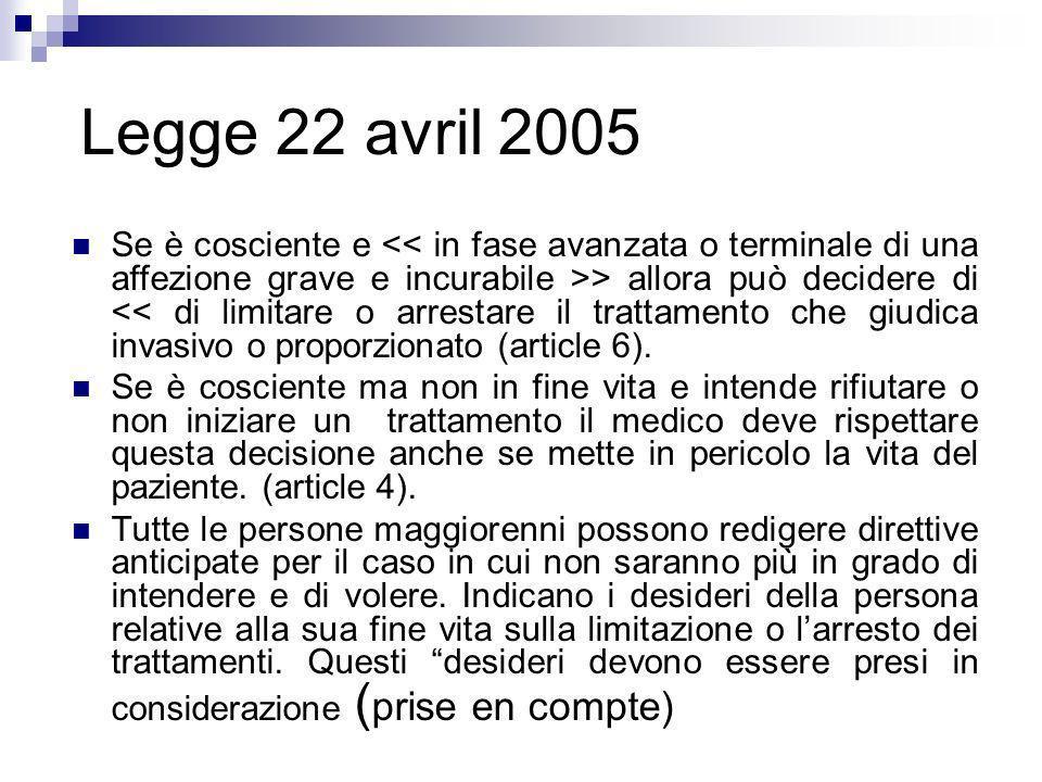 Legge 22 avril 2005 Se è cosciente e > allora può decidere di << di limitare o arrestare il trattamento che giudica invasivo o proporzionato (article