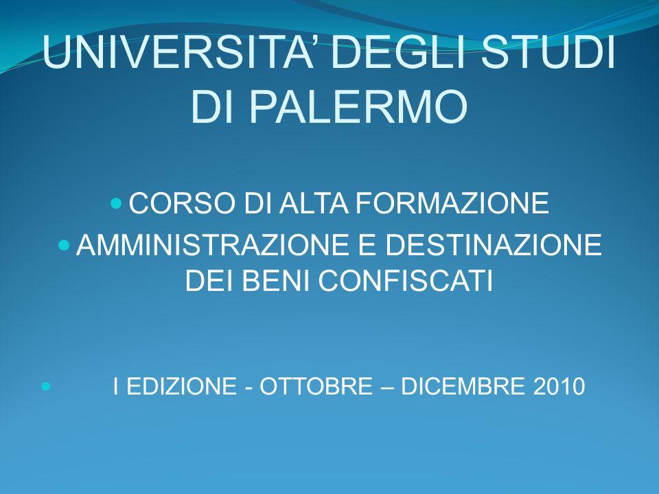 UNIVERSITA DEGLI STUDI DI PALERMO CORSO DI ALTA FORMAZIONE AMMINISTRAZIONE E DESTINAZIONE DEI BENI CONFISCATI I EDIZIONE - OTTOBRE – DICEMBRE 2010