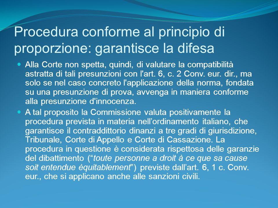 Procedura conforme al principio di proporzione: garantisce la difesa Alla Corte non spetta, quindi, di valutare la compatibilità astratta di tali presunzioni con l art.