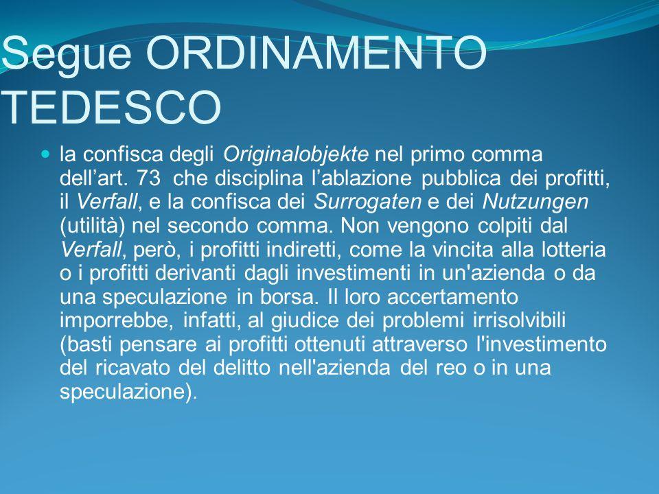 Segue ORDINAMENTO TEDESCO la confisca degli Originalobjekte nel primo comma dellart.