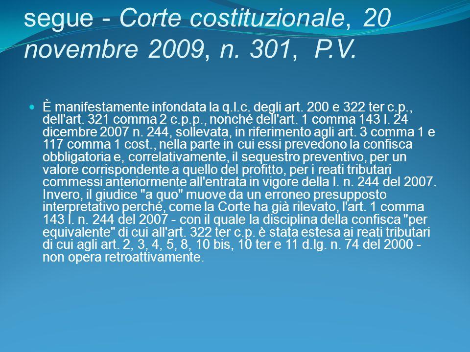 segue - Corte costituzionale, 20 novembre 2009, n.