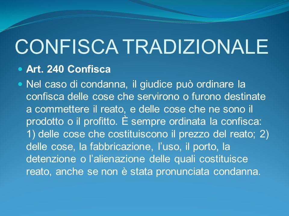 CONFISCA TRADIZIONALE Art.