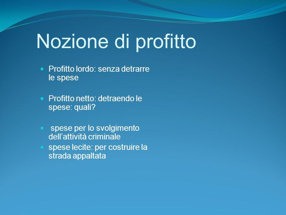 Nozione di profitto Profitto lordo: senza detrarre le spese Profitto netto: detraendo le spese: quali.