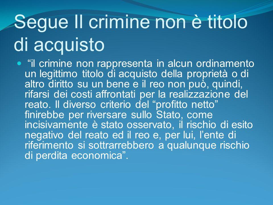 Segue Il crimine non è titolo di acquisto il crimine non rappresenta in alcun ordinamento un legittimo titolo di acquisto della proprietà o di altro diritto su un bene e il reo non può, quindi, rifarsi dei costi affrontati per la realizzazione del reato.