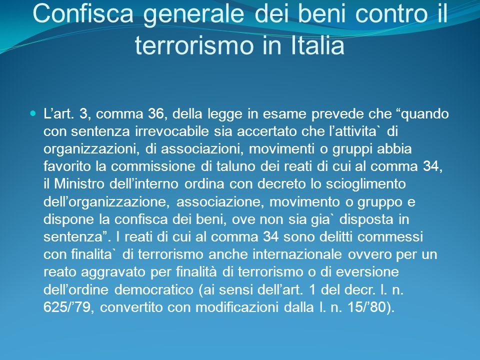 Confisca generale dei beni contro il terrorismo in Italia Lart.