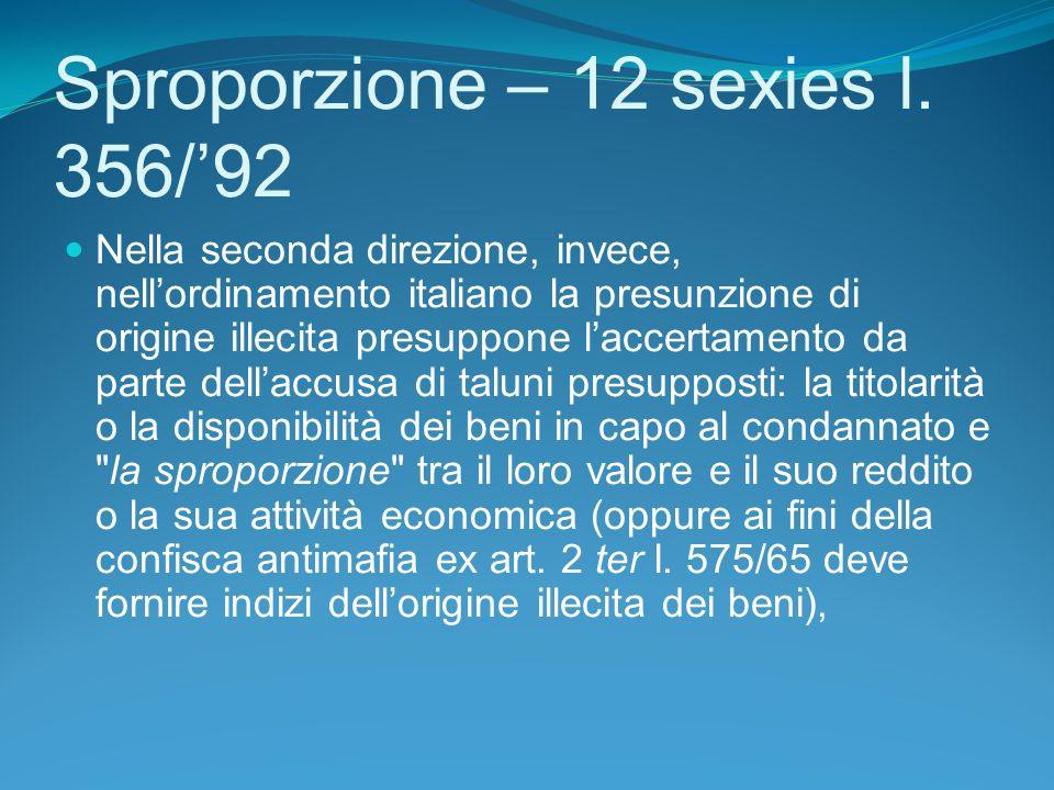 Sproporzione – 12 sexies l.