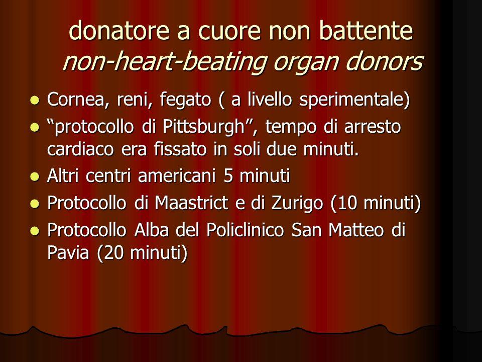 donatore a cuore non battente non-heart-beating organ donors Cornea, reni, fegato ( a livello sperimentale) Cornea, reni, fegato ( a livello speriment