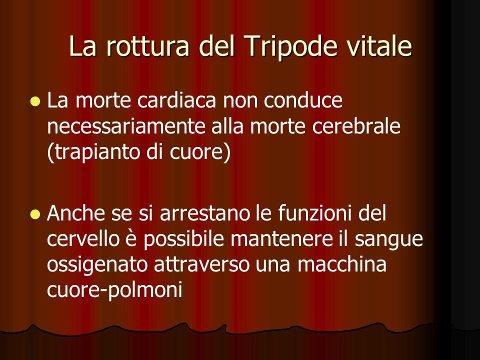 La rottura del Tripode vitale La morte cardiaca non conduce necessariamente alla morte cerebrale (trapianto di cuore) Anche se si arrestano le funzion