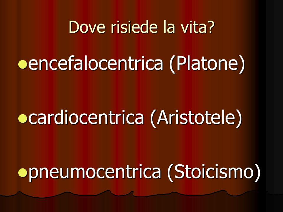 Dove risiede la vita? encefalocentrica (Platone) encefalocentrica (Platone) cardiocentrica (Aristotele) cardiocentrica (Aristotele) pneumocentrica (St