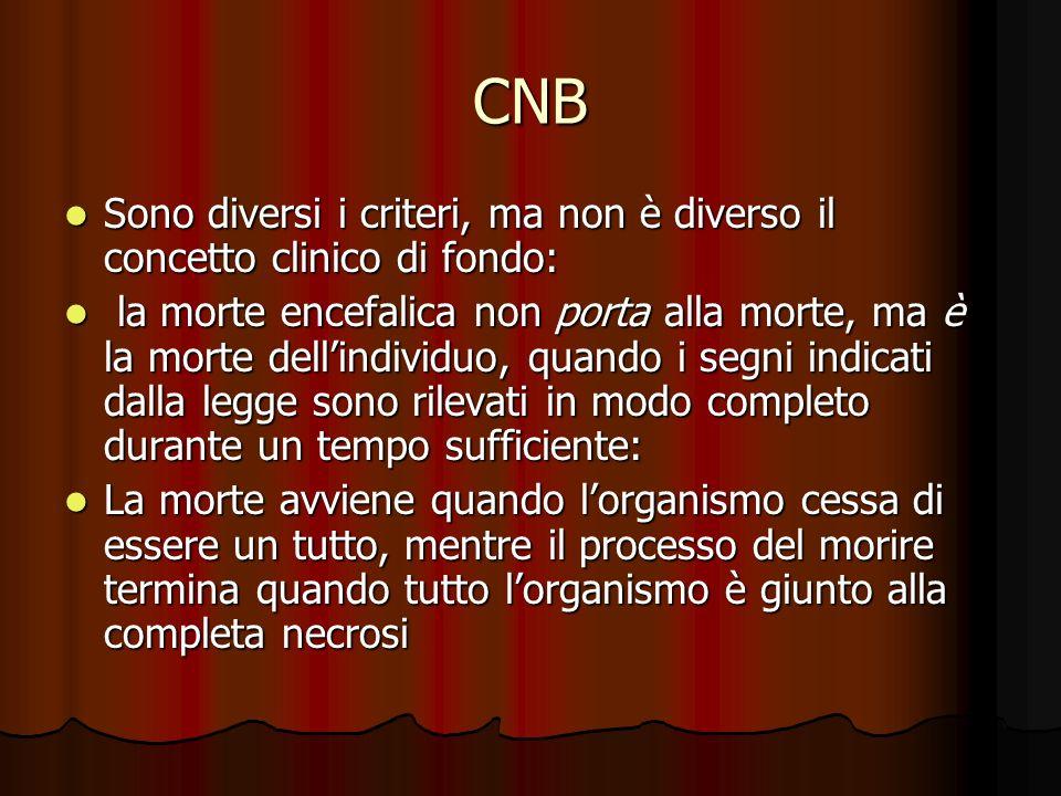 CNB Sono diversi i criteri, ma non è diverso il concetto clinico di fondo: Sono diversi i criteri, ma non è diverso il concetto clinico di fondo: la m