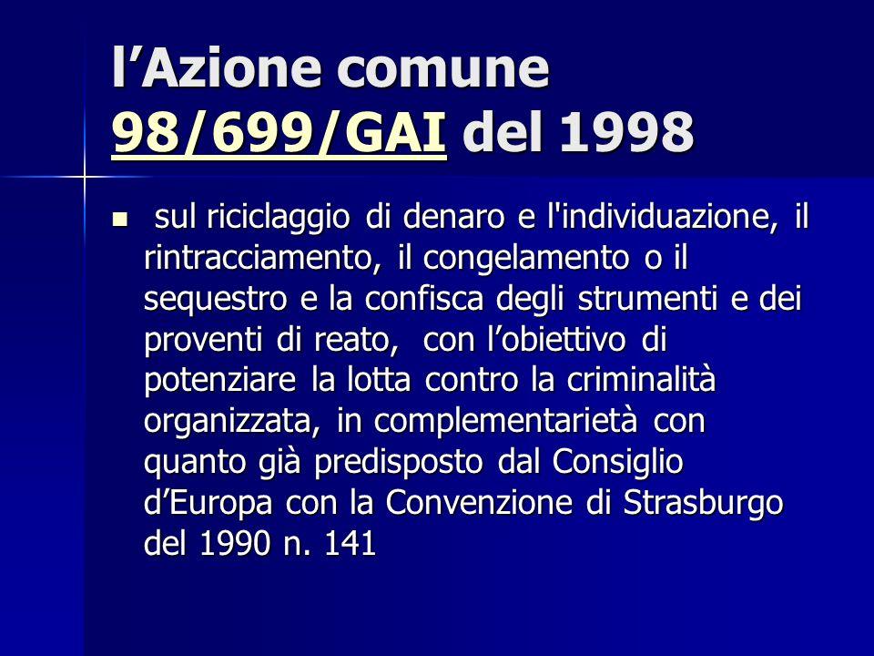 lAzione comune 98/699/GAI del 1998 98/699/GAI sul riciclaggio di denaro e l'individuazione, il rintracciamento, il congelamento o il sequestro e la co