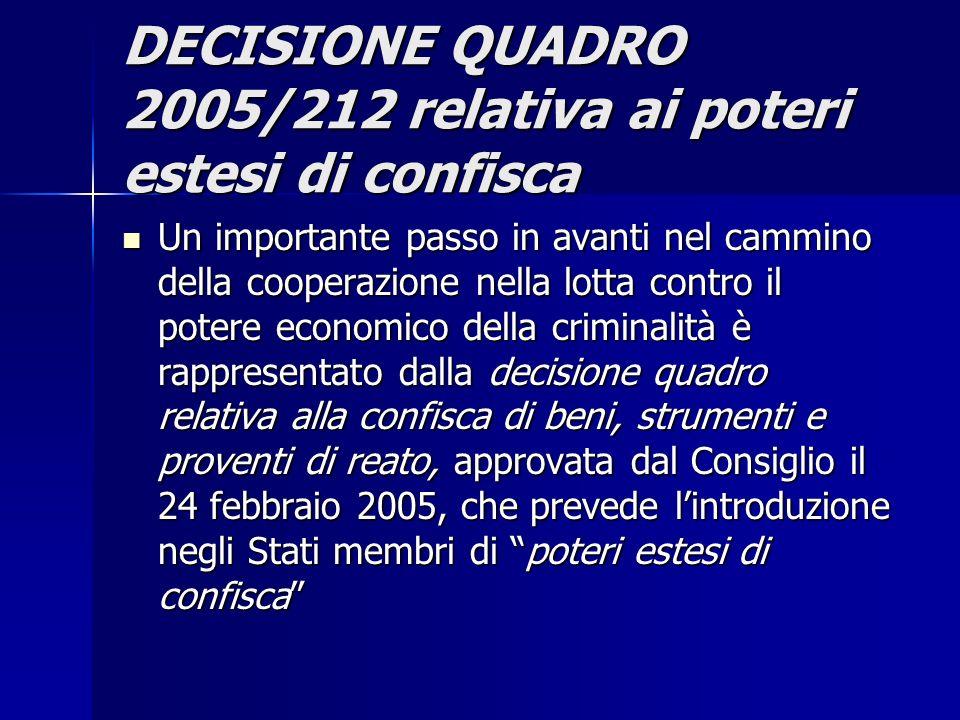 DECISIONE QUADRO 2005/212 relativa ai poteri estesi di confisca Un importante passo in avanti nel cammino della cooperazione nella lotta contro il pot