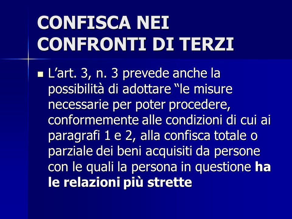 CONFISCA NEI CONFRONTI DI TERZI Lart. 3, n. 3 prevede anche la possibilità di adottare le misure necessarie per poter procedere, conformemente alle co