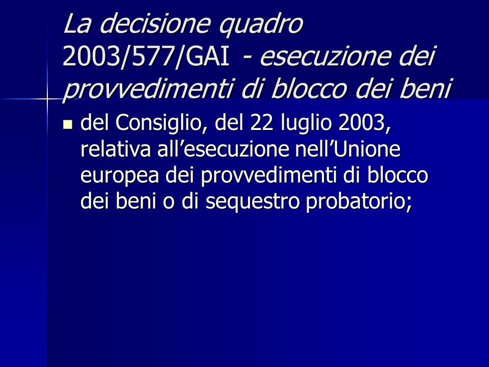 La decisione quadro 2003/577/GAI - esecuzione dei provvedimenti di blocco dei beni del Consiglio, del 22 luglio 2003, relativa allesecuzione nellUnion