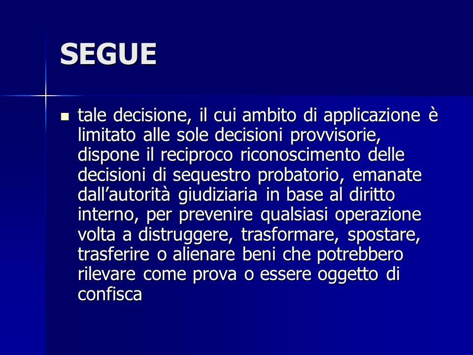 SEGUE tale decisione, il cui ambito di applicazione è limitato alle sole decisioni provvisorie, dispone il reciproco riconoscimento delle decisioni di
