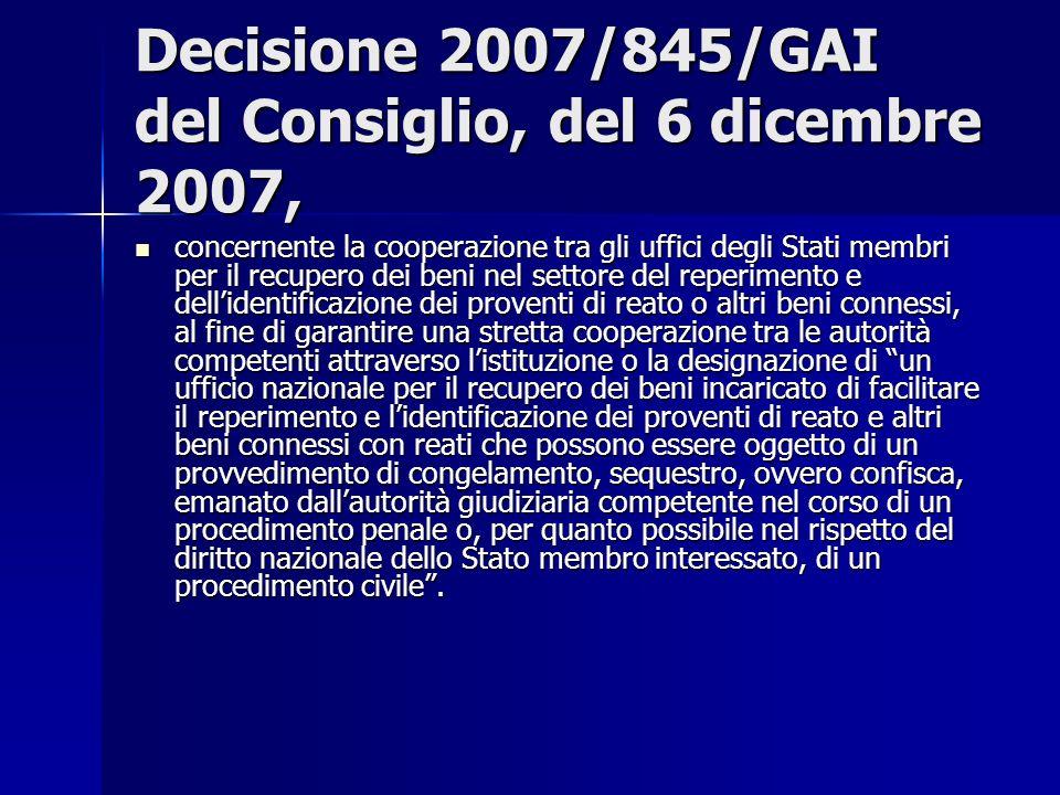 Decisione 2007/845/GAI del Consiglio, del 6 dicembre 2007, concernente la cooperazione tra gli uffici degli Stati membri per il recupero dei beni nel