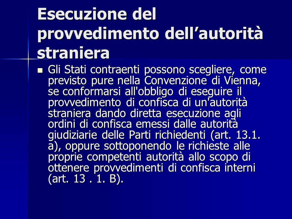 Esecuzione del provvedimento dellautorità straniera Gli Stati contraenti possono scegliere, come previsto pure nella Convenzione di Vienna, se conform
