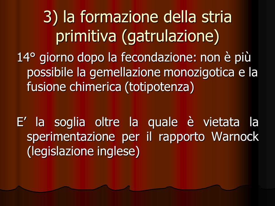 3) la formazione della stria primitiva (gatrulazione) 14° giorno dopo la fecondazione: non è più possibile la gemellazione monozigotica e la fusione c