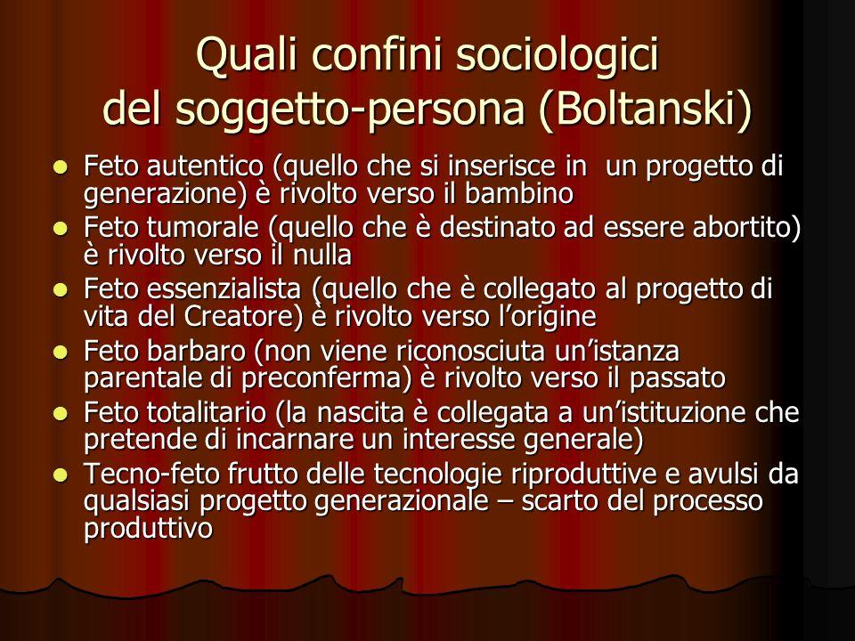 Quali confini sociologici del soggetto-persona (Boltanski) Feto autentico (quello che si inserisce in un progetto di generazione) è rivolto verso il b