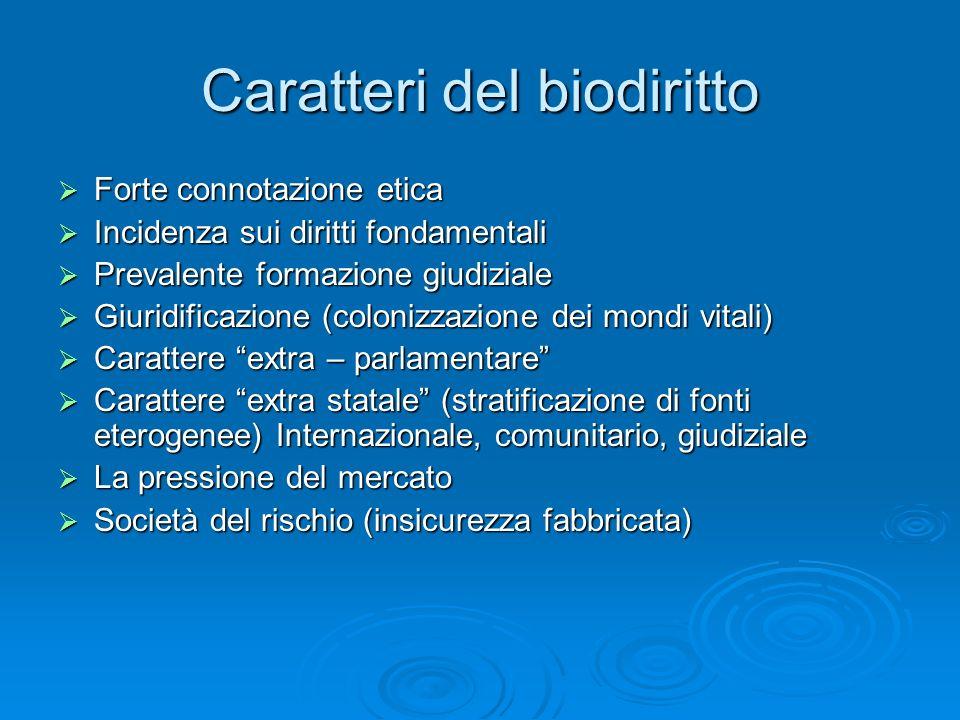 Caratteri del biodiritto Forte connotazione etica Forte connotazione etica Incidenza sui diritti fondamentali Incidenza sui diritti fondamentali Preva