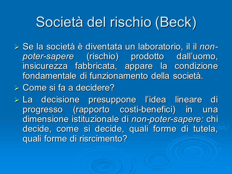 Società del rischio (Beck) Se la società è diventata un laboratorio, il il non- poter-sapere (rischio) prodotto dalluomo, insicurezza fabbricata, appa