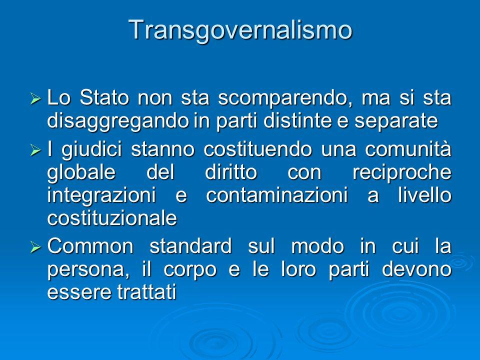 Transgovernalismo Lo Stato non sta scomparendo, ma si sta disaggregando in parti distinte e separate Lo Stato non sta scomparendo, ma si sta disaggreg