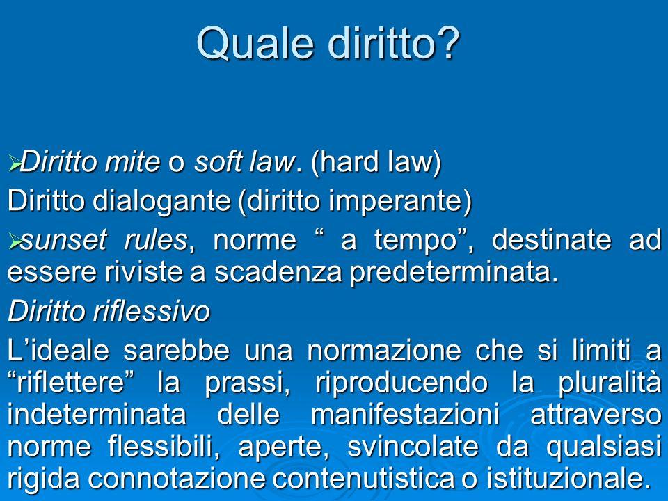 Quale diritto? Diritto mite o soft law. (hard law) Diritto mite o soft law. (hard law) Diritto dialogante (diritto imperante) sunset rules, norme a te