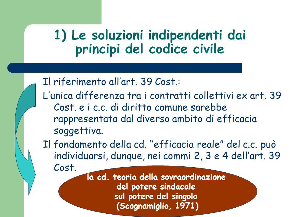 1) Le soluzioni indipendenti dai principi del codice civile Il riferimento allart. 39 Cost.: Lunica differenza tra i contratti collettivi ex art. 39 C