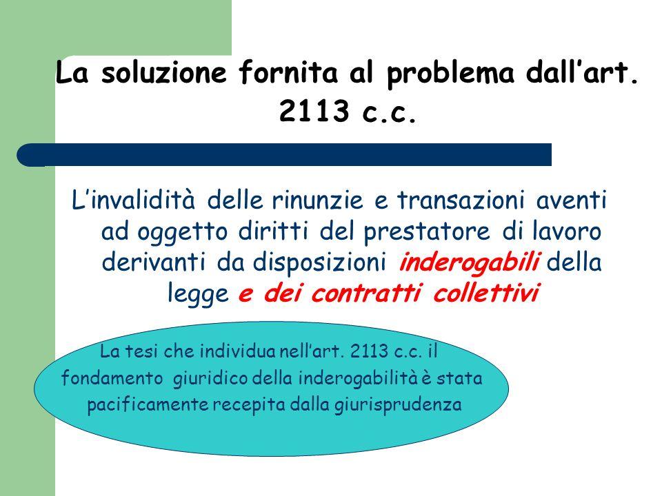La soluzione fornita al problema dallart. 2113 c.c. Linvalidità delle rinunzie e transazioni aventi ad oggetto diritti del prestatore di lavoro deriva