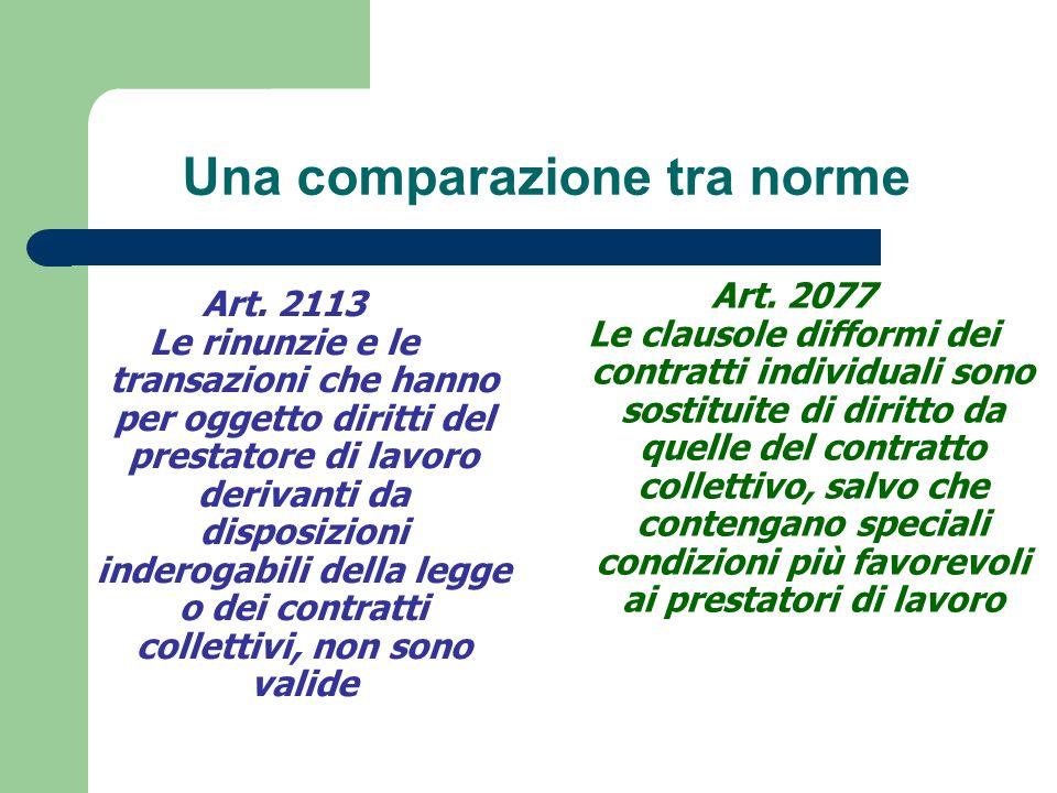 Una comparazione tra norme Art.