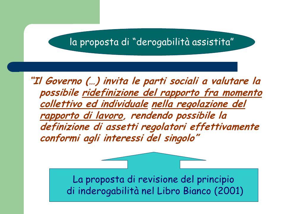 Il Governo (…) invita le parti sociali a valutare la possibile ridefinizione del rapporto fra momento collettivo ed individuale nella regolazione del