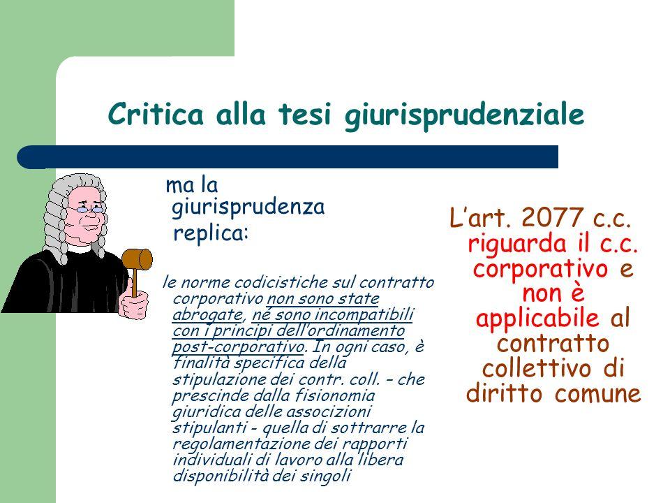 Critica alla tesi giurisprudenziale ma la giurisprudenza replica: le norme codicistiche sul contratto corporativo non sono state abrogate, né sono inc