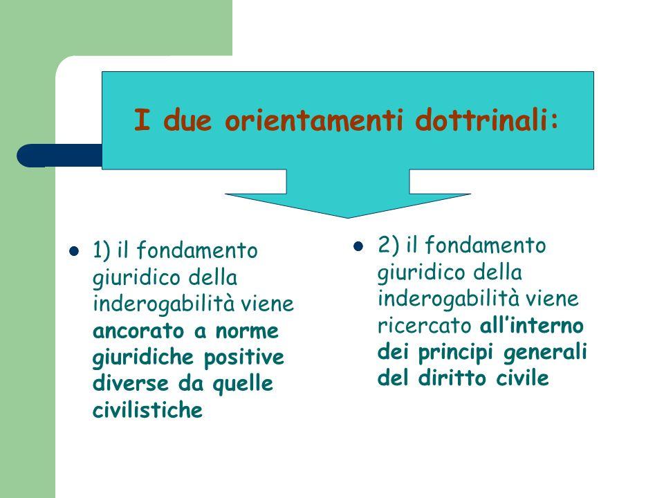 1) il fondamento giuridico della inderogabilità viene ancorato a norme giuridiche positive diverse da quelle civilistiche 2) il fondamento giuridico d