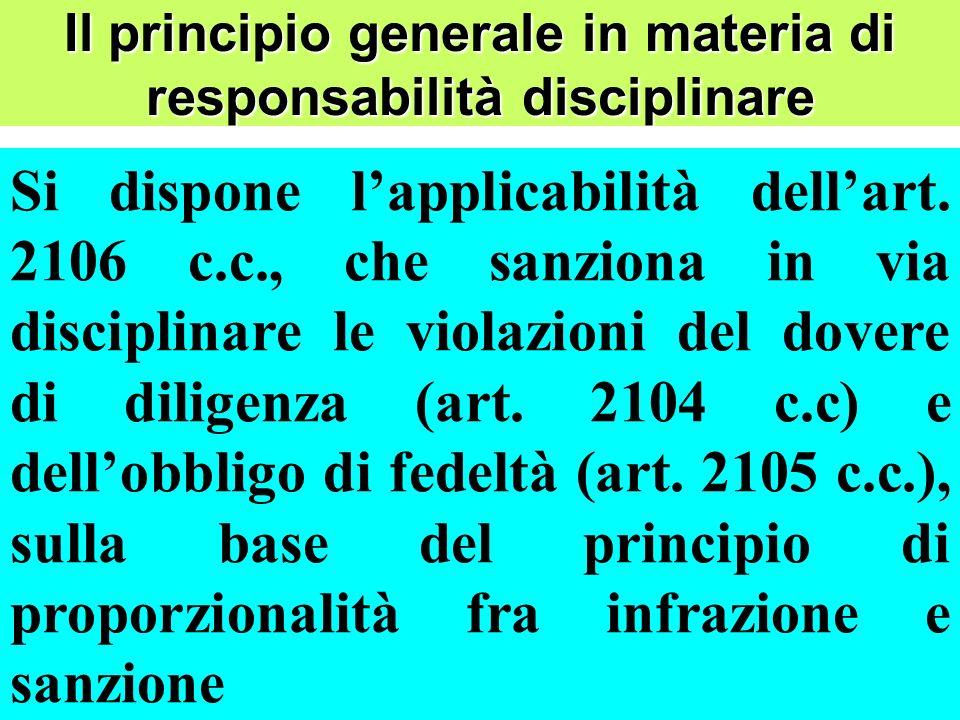 Il principio generale in materia di responsabilità disciplinare Si dispone lapplicabilità dellart.