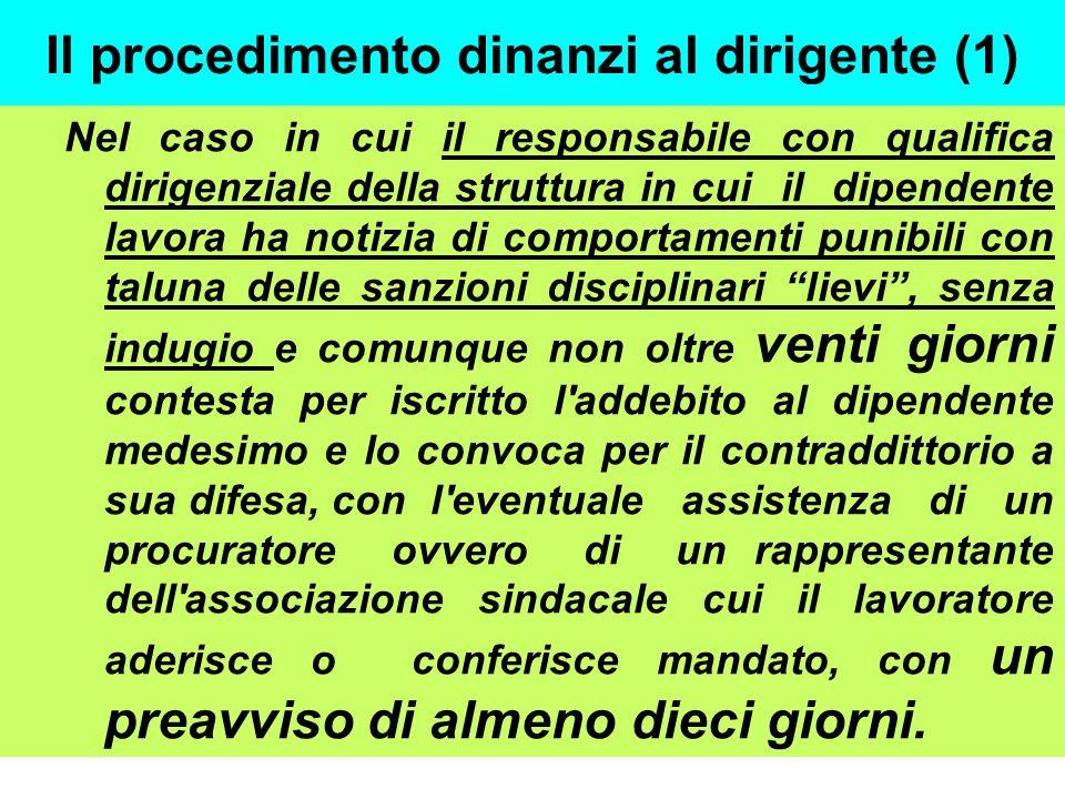 Il procedimento dinanzi al dirigente (1) Nel caso in cui il responsabile con qualifica dirigenziale della struttura in cui il dipendente lavora ha not