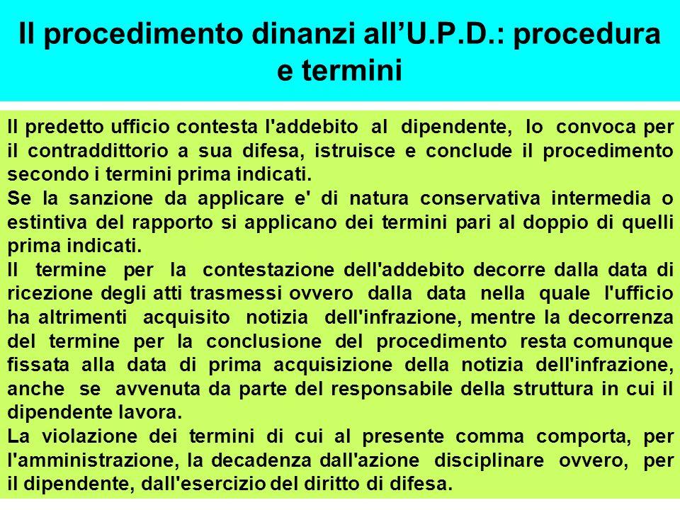 Il procedimento dinanzi allU.P.D.: procedura e termini Il predetto ufficio contesta l'addebito al dipendente, lo convoca per il contraddittorio a sua