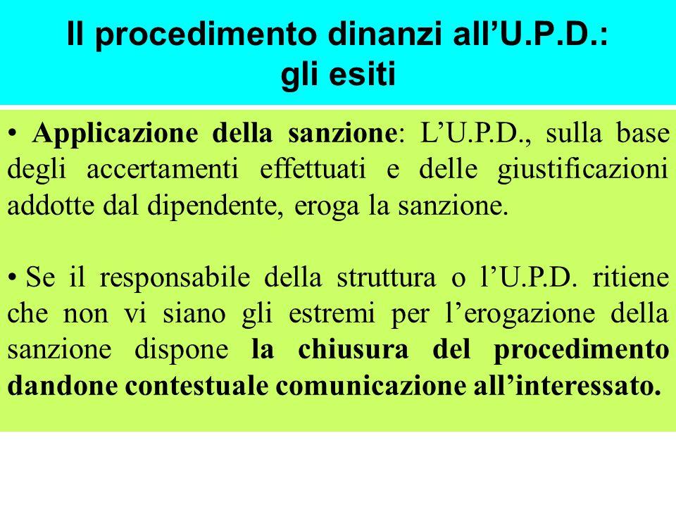 Il procedimento dinanzi allU.P.D.: gli esiti Applicazione della sanzione: LU.P.D., sulla base degli accertamenti effettuati e delle giustificazioni addotte dal dipendente, eroga la sanzione.