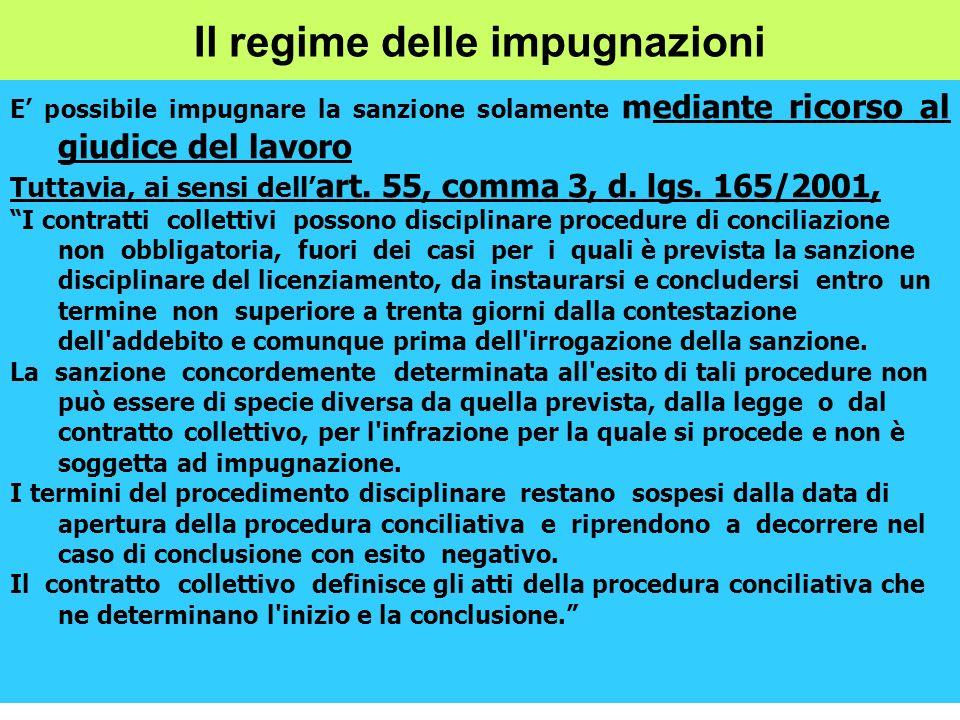 Il regime delle impugnazioni E possibile impugnare la sanzione solamente mediante ricorso al giudice del lavoro Tuttavia, ai sensi dell art. 55, comma