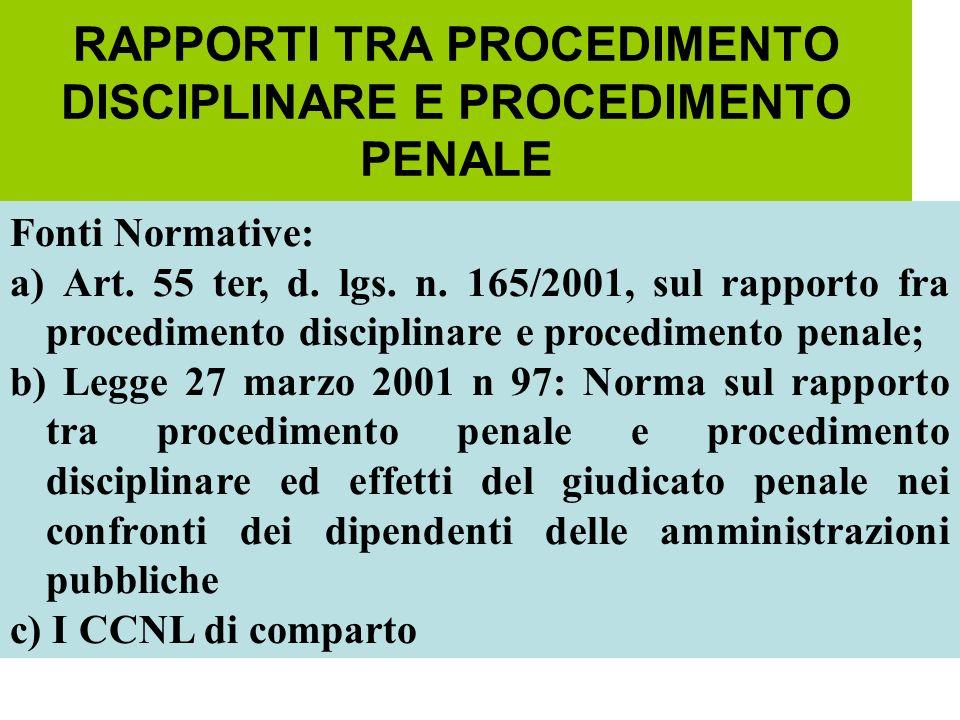 RAPPORTI TRA PROCEDIMENTO DISCIPLINARE E PROCEDIMENTO PENALE Fonti Normative: a) Art. 55 ter, d. lgs. n. 165/2001, sul rapporto fra procedimento disci