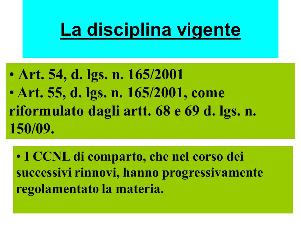 La disciplina vigente Art. 54, d. lgs. n. 165/2001 Art. 55, d. lgs. n. 165/2001, come riformulato dagli artt. 68 e 69 d. lgs. n. 150/09. I CCNL di com