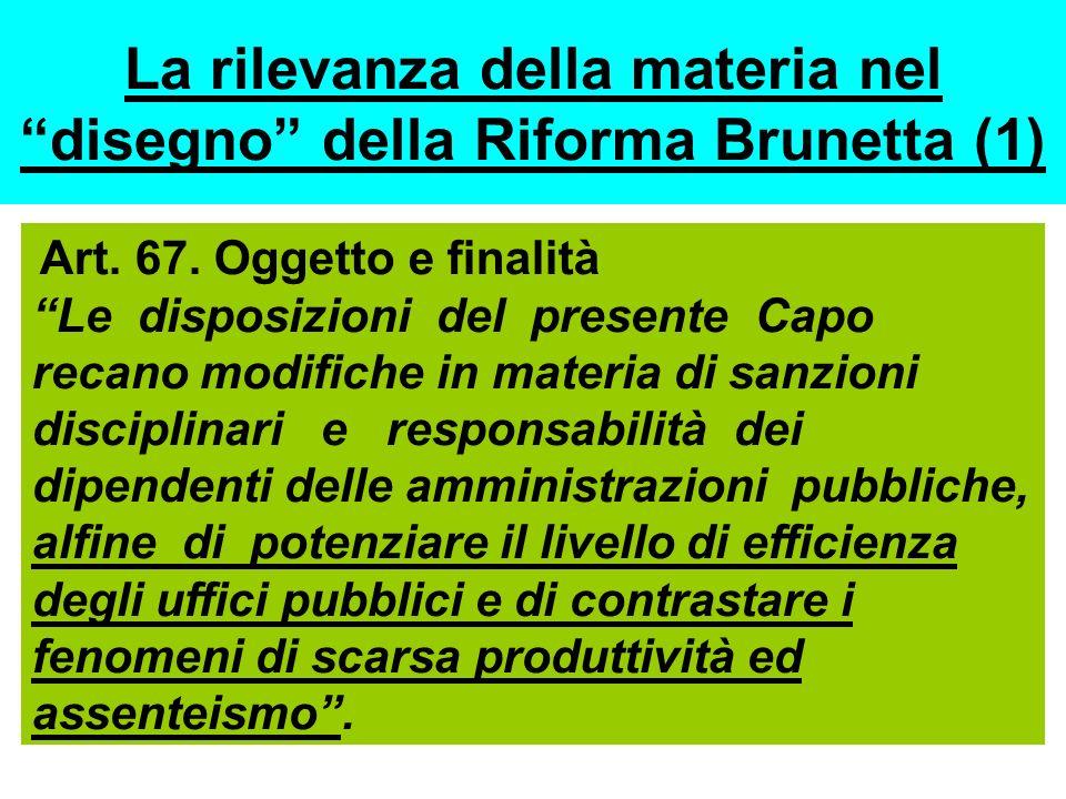 La rilevanza della materia nel disegno della Riforma Brunetta (1) Art. 67. Oggetto e finalità Le disposizioni del presente Capo recano modifiche in ma