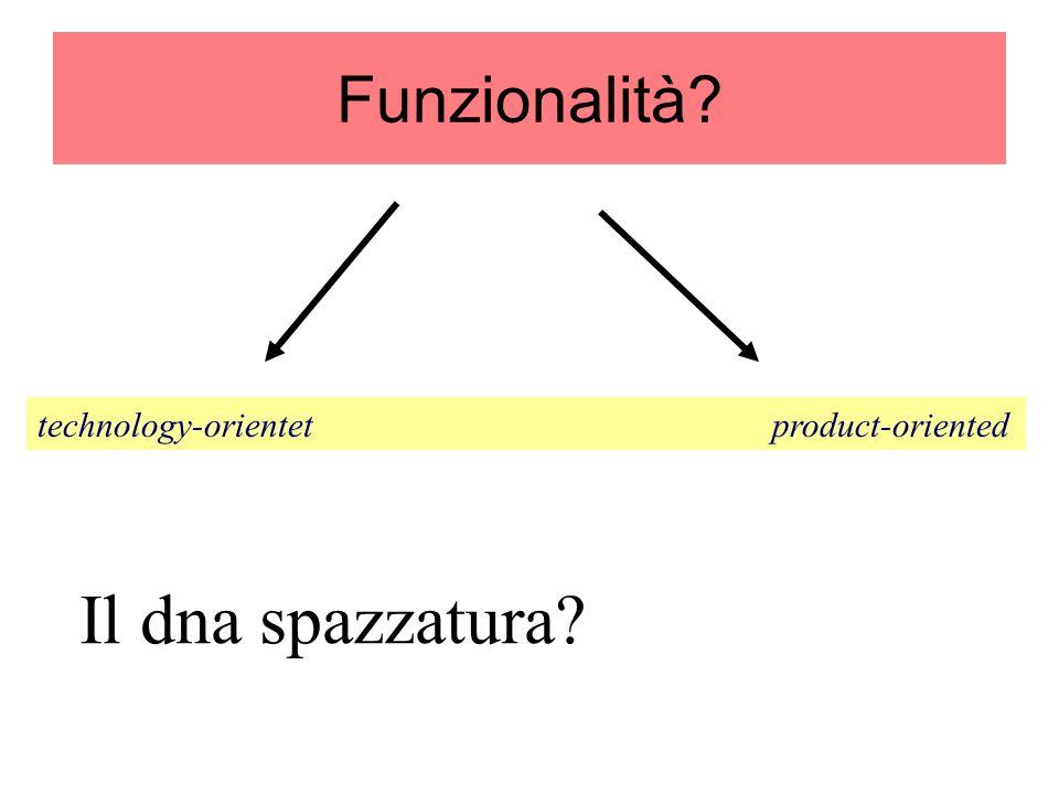 Funzionalità? technology-orientet product-oriented Il dna spazzatura?