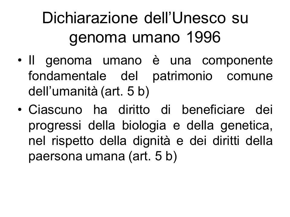 Dichiarazione dellUnesco su genoma umano 1996 Il genoma umano è una componente fondamentale del patrimonio comune dellumanità (art. 5 b) Ciascuno ha d