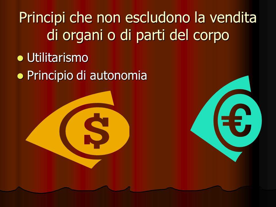 Principi che non escludono la vendita di organi o di parti del corpo Utilitarismo Utilitarismo Principio di autonomia Principio di autonomia