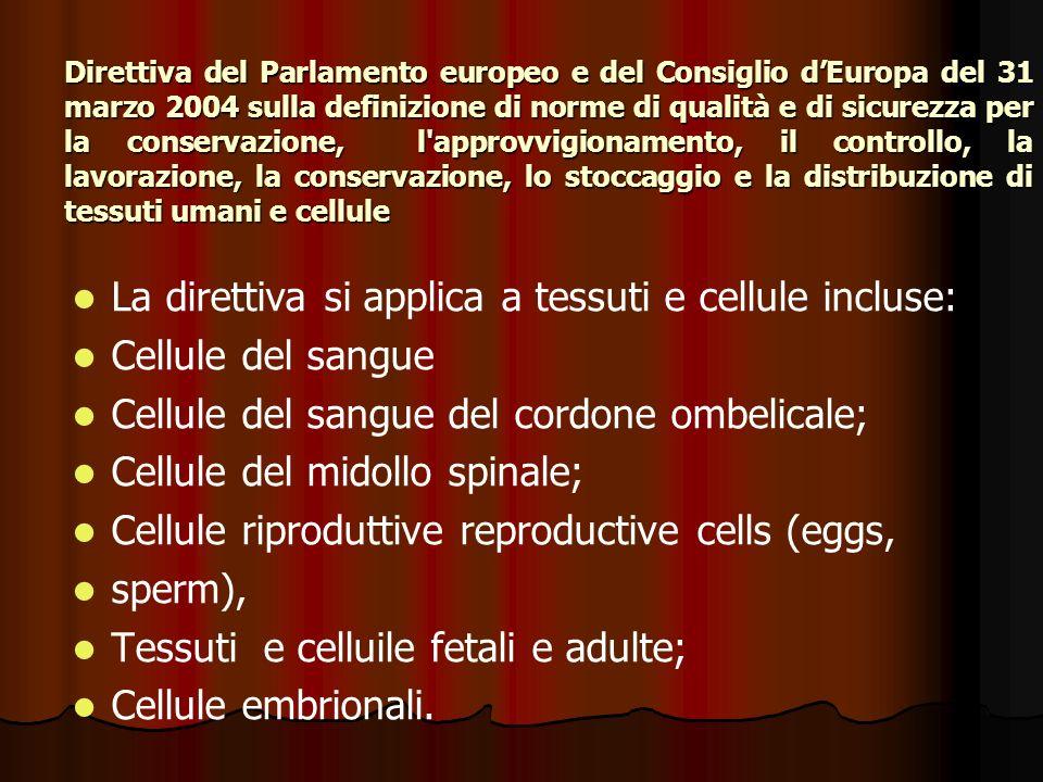 La direttiva si applica a tessuti e cellule incluse: Cellule del sangue Cellule del sangue del cordone ombelicale; Cellule del midollo spinale; Cellule riproduttive reproductive cells (eggs, sperm), Tessuti e celluile fetali e adulte; Cellule embrionali.