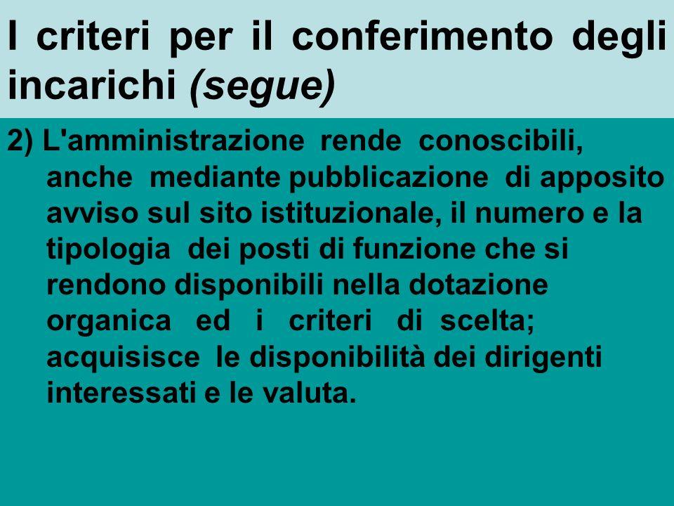 I criteri per il conferimento degli incarichi (art.